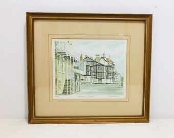 Philip Martin Signed Limited Edition Framed Lithograph Print of Watercolour Parkgate Cheshire 81/850 | Greenish Grey Home Decor Wall Art