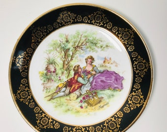 Small Decorative Signed Fragonard English Regency Plate | Love Story Courting Couple China | Regency Lovers Cabinet Plate