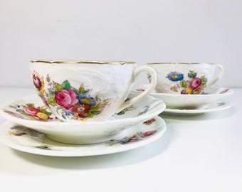 Pair of Antique Coalport China Teacup Saucer and Plate | 2 x Raised Coalport China Tea Trio
