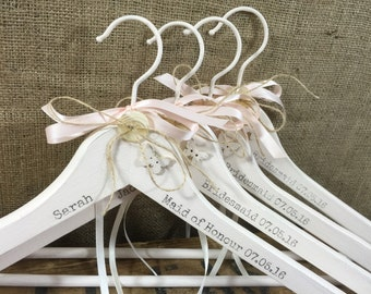 Bridal Name Hanger | Bridesmaids Hangers | Mrs Hanger For Bride | Personalised Wedding Hangers | Set of Bridal Hangers