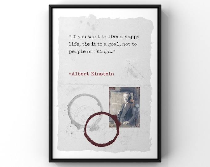 Albert Einstein Typography Quote Print | Live A Happy Life Quote | Goal Quote Print A4