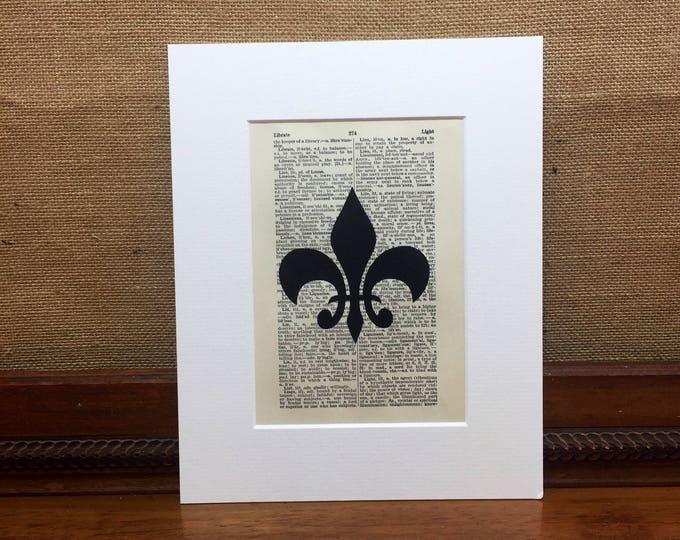 Fleur De Lis Dictionary Print Fleur De Lys Book Page Print Decorative Wall Art Print For Home Decor French Boudoir Room Decor