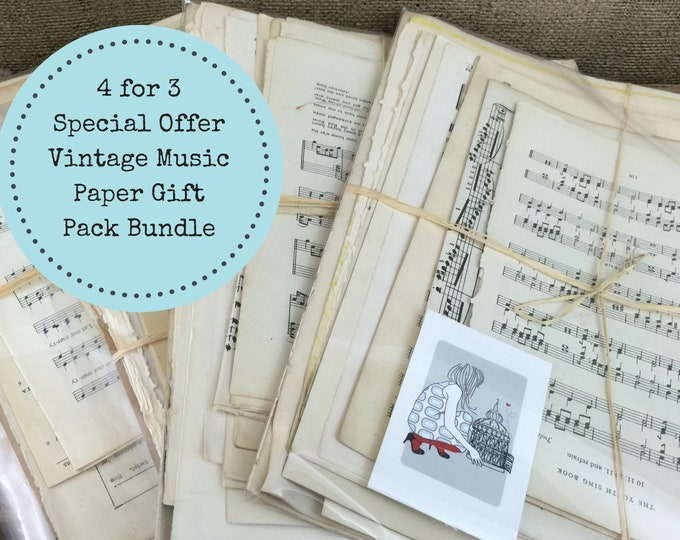 4 Pack Sheet Music Bundle   Song Paper   Music Sheet   Music Note Paper   Scrap Book Paper   Decoupage   Scrapbooking   4 for 3 Pack Promo