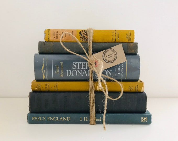 Grey and Mustard Yellow Vintage Book Bundle for Grey Home Decor, Old Books Decoration and Library Shelf Staging