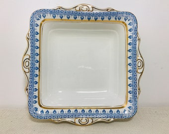 Blue White and Gold Decorative Square Bowl by Leighton Pottery Grecian Design Vintage English Early 20th Century China Dish