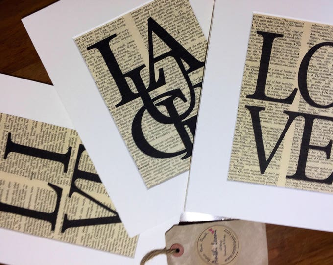 Dictionary Print Set of 3 LIVE LAUGH LOVE - 8 x 10 Life Quotes - Word Art Prints - Typography Print Set - Mounted Dictionary Word Art