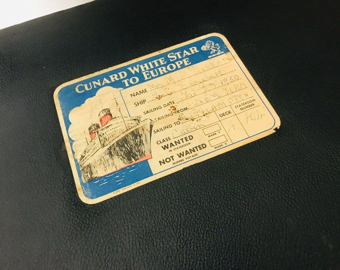 RARE Cunard White Star Memorabilia Suitcase Sailed Southampton to New York | Rare Antique Black Suitcase
