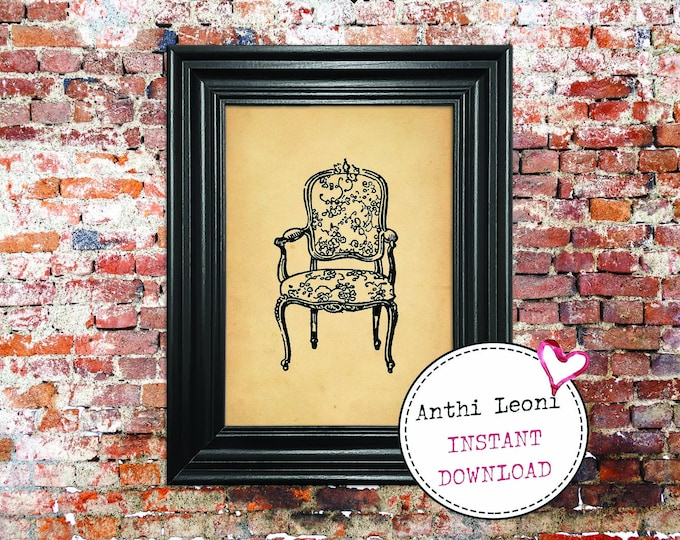 Antique Chair Instant download | Vintage Old Paper Print Design | Old Chair Book Page Illustration | Just Download and Print #0001