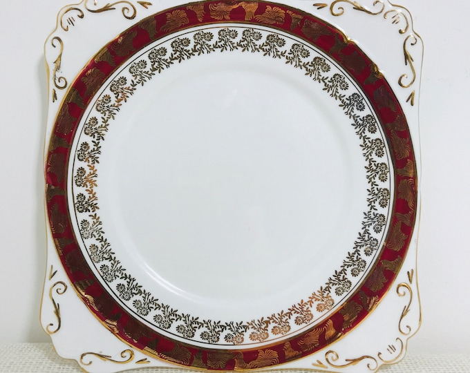 "Royal Stafford Square Cake Plate with Decorative Red and Gold Pattern Design | 8"" Bone China Cake Plate"