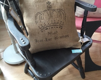 Burlap Cushion | Farmhouse Style Cushion | French Farmhouse Cushion | Crown Cushion | Rustic Cushion | French Country Cushion