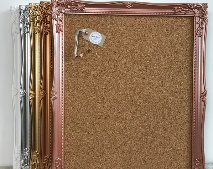 Featured listing image: FRAMED CORK BOARD in White Gold Silver Rose Gold Copper Framed Pin Board Push Pin Board Ornate Vision Board Notice Board Home  Office Decor
