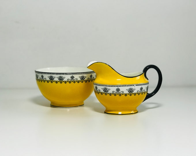 Art Deco China Sugar Bowl and Creamer by Antique Aynsley Pattern A3268 in Black and Yellow