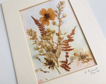 Mounted Leaf and Flower Pressed Art | Vintage Mounted Square Wall Hanging Decor | Dried Flowers Wall Art