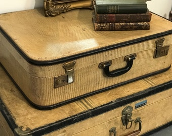 Cream and Black Vintage Luggage Collection For Home Interior Decor Pair Vintage Designer Coffee Table Cases Art Deco Storage Solution