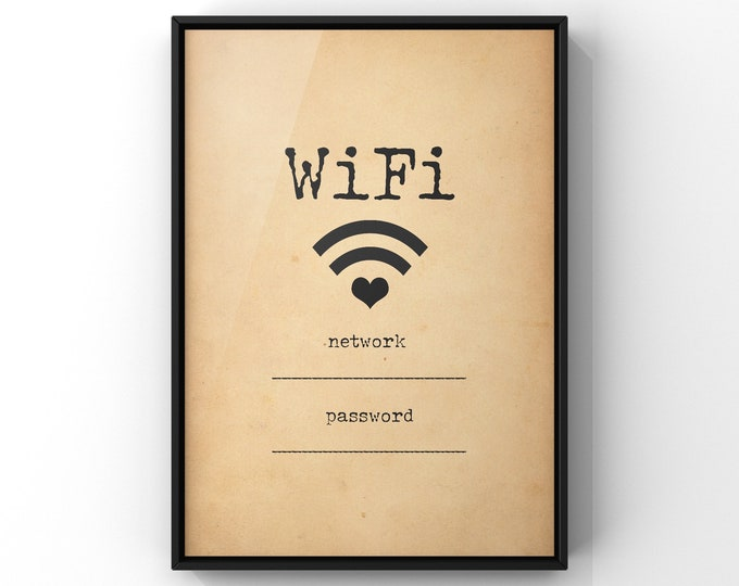 Wifi Password Print | Wifi Sign Cafe Decor | Vintage Wifi Sign | Internet Password Code Log in | Coffee Shop Wall Art Poster