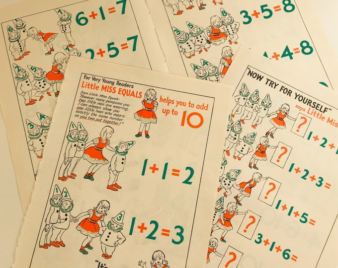Vintage Childrens Book Pages for Scrapbooking or Framing | Little Miss Equals Maths Help | Vintage Book Pages | Paper Crafters Gift Idea