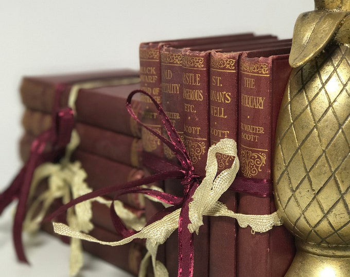 Small Decorative Books Burgundy Red Books Marsala Maroon and Gold Book Collection Deep Wine Red and Gold Decor Pretty Vintage Book Stack