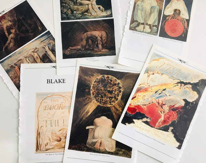 A5 Enchanting Vintage Book Plate Pages | Image Book of Urizen, The Song of Los, The Book of Thel assorted Colour Plates | Vintage Book Pages