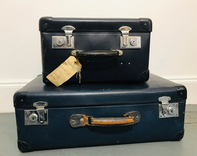 Pair Navy Blue Vintage Suitcases Blue Travel Luggage Suitcase Set Blue Home Decor Accent for Interior Design and Retail Display