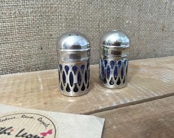 Cobalt Blue Salt and Pepper Shakers Silver Plated Filigree Design Edwardian Antique Salt and Pepper Set English