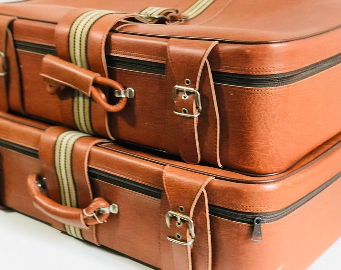 Pair of Retro Vintage Suitcases in Tan Brown with Gucci Style Stripe | Vintage Luggage Suitcase Stack Interior Design Photo Props or Storage