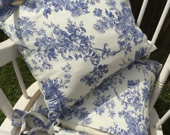 Blue and Cream Cushions | Regency Toile Cushions | TOILE DE JOUY Cottage Shabby Style Cushions | Blue Toile de Jouy Cushions