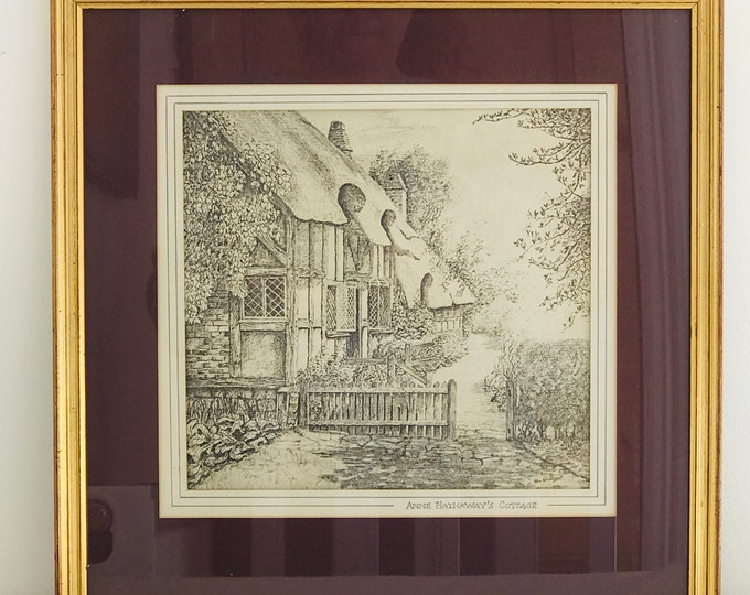 Anne Hathaway's Cottage Wife of Shakespeare Vintage Lithographic Print of Sketch Art Mounted in Burgundy Red and Square Gold Frame