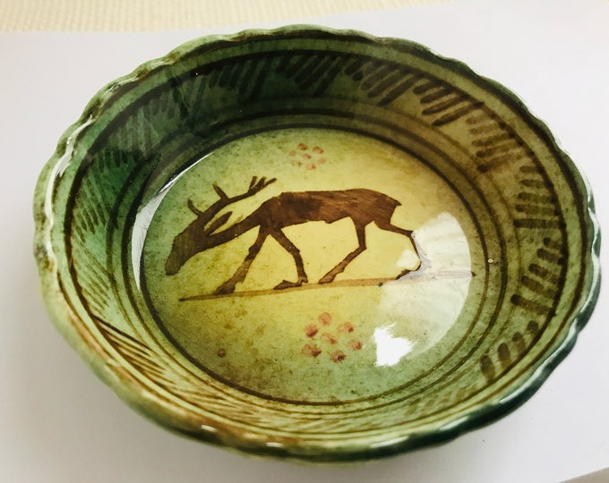 Vintage KERAMIKOS Athens Greece Handmade Ceramic Pottery Deer Stag Dish Mid Century Small Green Primitive Grecian Pin or Trinket Vessel
