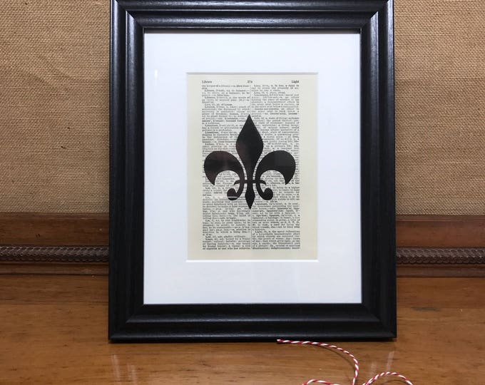 Fleur De Lis Dictionary Page Print With Mount and Black Chunky Frame | French Style Print | Vintage Book Page Print | Vintage Wall Art Print