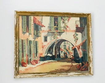 Framed Painting of Palma Majorca Traditional Spanish Building with Shutters and Archway Signed Ken Steel 1953 in Grey Blue Green and Peach