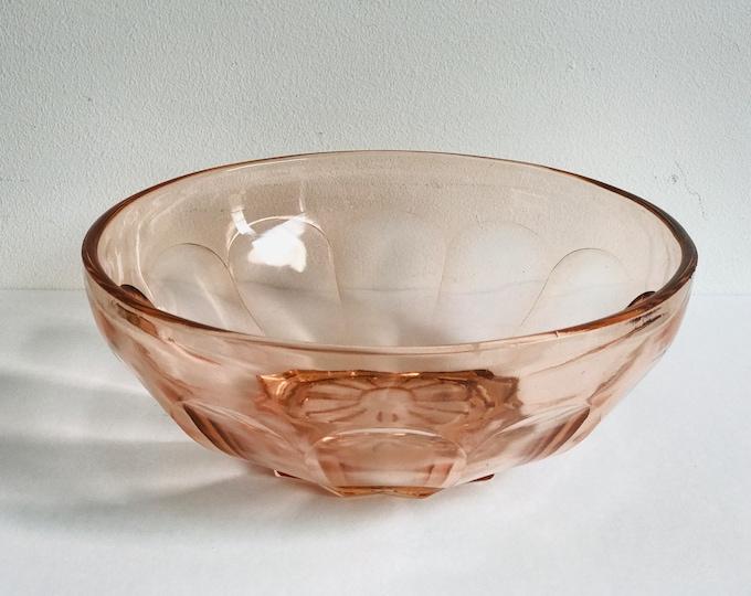 Pink Depression Glass Bowl   Depression Glass   Blush Pink   Glass Bowl   Retro Glass Bowl   Glass Fruit Bowl   Serving Bowl   1950s   1940s