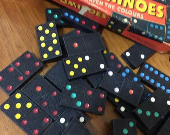 Dominoes | Vintage Dominoes | Wooden Dominoes | Kids Dominoes | 70s Dominoes | Retro Domino Set | Dominoes Game | Tile Games |
