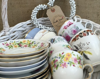 Job Lot 20 Pieces Vintage China - 10 Mismatch China Tea Cups and Saucers for Weddings & Events / Mix and Match China Tea Cups and Saucers
