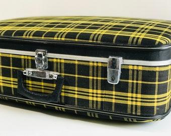 Black and Yellow Vintage Suitcase Trunk | 1960s Retro Tartan Suitcase | Vintage Retro Luggage | Mod Suitcase