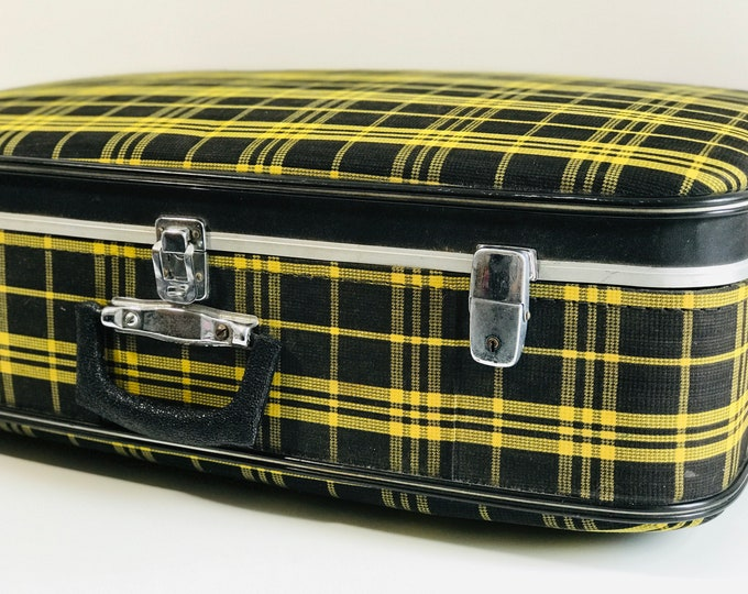 Black and Yellow Vintage Suitcase Trunk | 1960s Retro Tartan Suitcase | Vintage Retro Luggage | Mod Suitcase