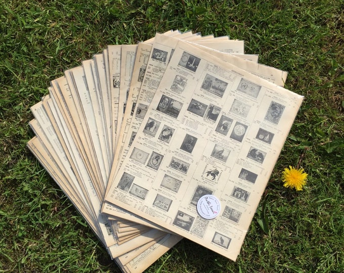 20 STAMP BOOK Pages | Vintage Stamp Pages | Old Book Pages | Origami Paper Sheets Scrapbook Paper | Old Stamp Sheets | Decoupage Paper Pack