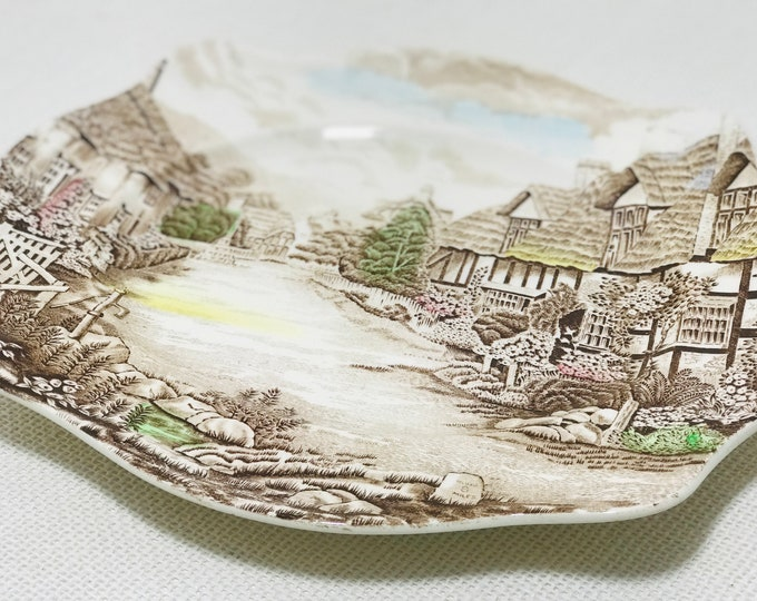 "OLDE ENGLISH COUNTRYSIDE Johnson Bros Collectible 10"" x 12"" Platter Brown Country Village Scene Mid Century Serving Dish Made in England"