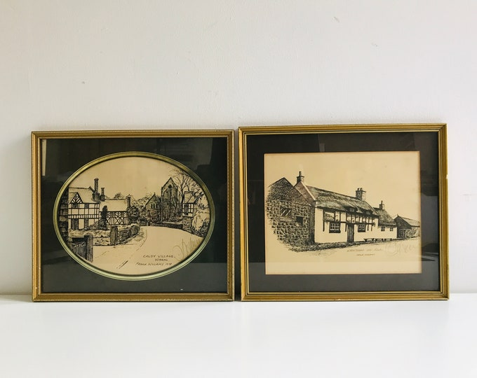 Vintage Framed Lithographic Prints Signed by Frank Williams Liverpool 1978 Architectural Pencil Drawing Caldy Village and Raby Wirral