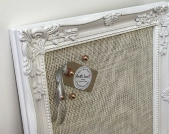 White Pin Board | White Noticeboard | White Message Board | Ornate Framed White Bulletin Board | White Vision Board | White Home Decor