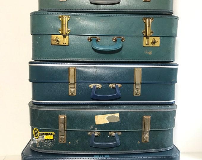 Vintage Suitcases in Teal and Blue | Vintage Luggage | Vintage Home Decor | Vintage Storage Solution | Vintage Cases | Photo Props