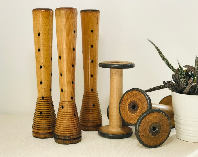 Antique Wooden Textile Bobbins and Yarn Spools for Retail Display and Interior Decor | Industrial Commercial Salvage Wood and Metal Items