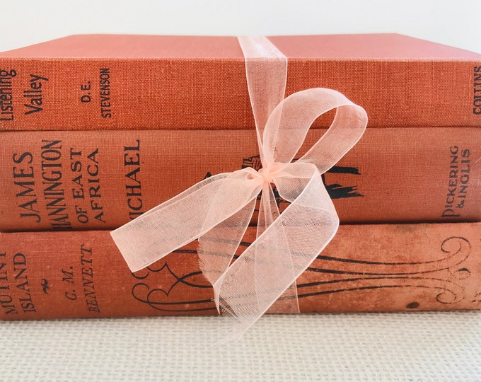Burnt Orange Vintage Books | Burnt Orange Book Bundle | Rustic Book Decor | Rustic Home Decor | Old Books Decor | Custom Sourced Books
