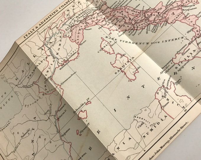 Antique 1890 Map Book Page of Italy and Adjoining Coast depicting Hannibal's Route
