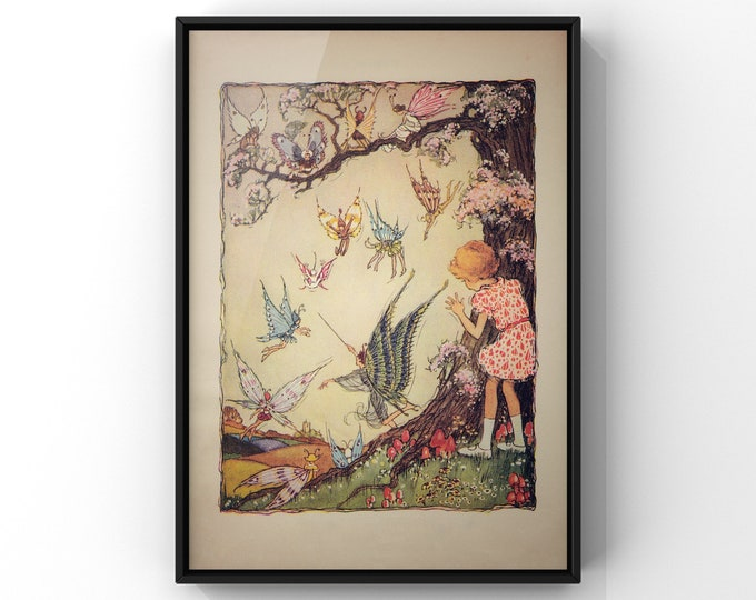 Antique Style Bookplate Fairy and Woodland Creatures Print | Young Girls Room Wall Art Decor | SC00357