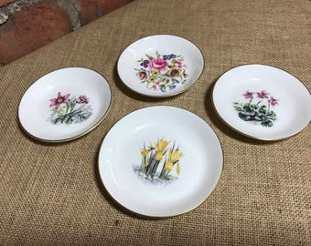 Royal Worcester English Bone China Floral Pin Dishes | 4 Pretty Trinket Dishes | Ring Dish | Collectible China
