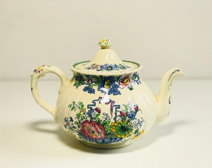 Powder Blue China Tea Pot by Johnson Bros | 1950s Retro English Mid Century Pottery Teapot