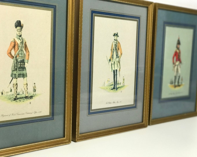 Antique Set of 3 Gold Framed Prints of British Military Officers Interior Design Library Wall Decor Vintage Office Decor Film Prop