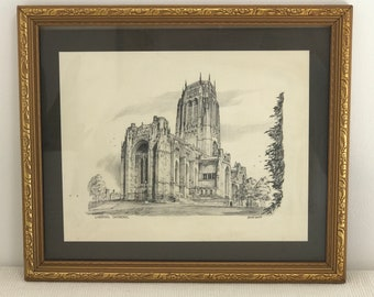 Vintage Framed Lithograph Sketch of Liverpool Cathedral Building Liverpool Architectural Pencil Drawing Merseyside Church