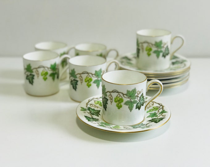 Small Wedgwood Coffee Cups and Saucer Set of 6 | Vintage Bone China Demitasse Espresso Coffee Cup
