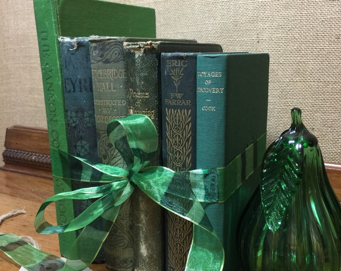 GREEN Vintage Book Collection - Old Books Decoration - Interior Design Shelf Staging - Christmas Green Home Decor - Custom Sourced Books